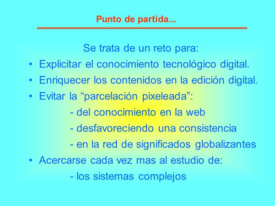 Se trata de un reto para: Explicitar el conocimiento tecnológico digital. Enriquecer los contenidos en la edición digital. Evitar la parcelación pixel