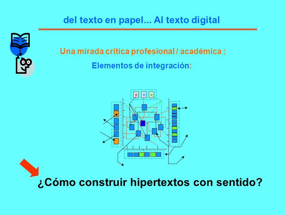 del texto en papel... Al texto digital Una mirada crítica profesional / académica : Elementos de integración: ¿Cómo construir hipertextos con sentido?