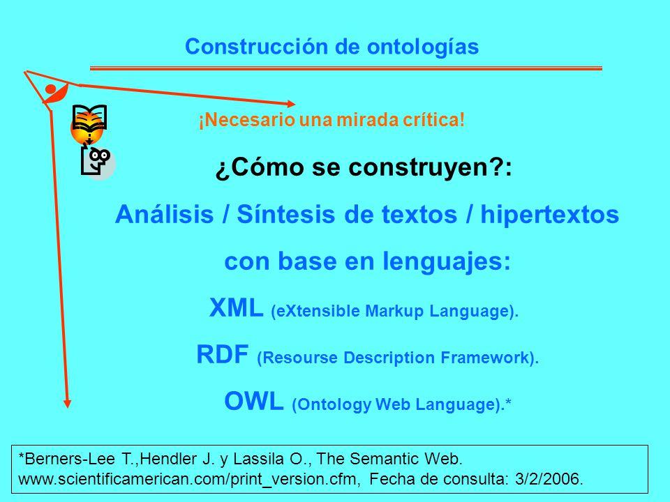 Construcción de ontologías ¡Necesario una mirada crítica! ¿Cómo se construyen?: Análisis / Síntesis de textos / hipertextos con base en lenguajes: XML