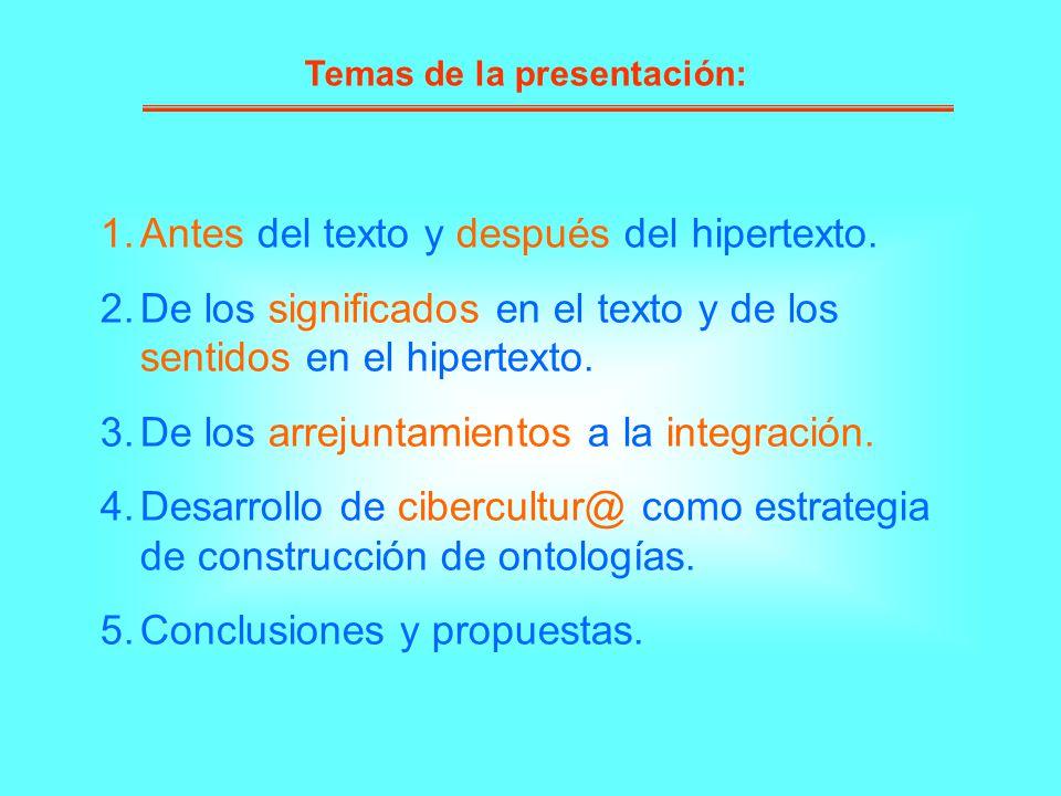 1.Antes del texto y después del hipertexto. 2.De los significados en el texto y de los sentidos en el hipertexto. 3.De los arrejuntamientos a la integ