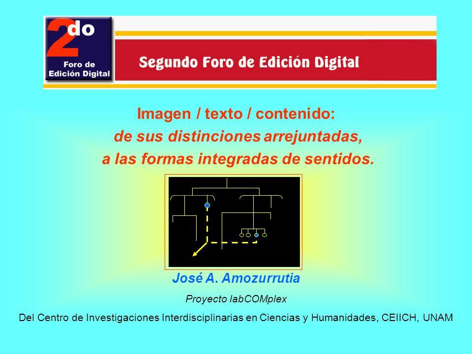 Imagen / texto / contenido: de sus distinciones arrejuntadas, a las formas integradas de sentidos. José A. Amozurrutia Proyecto labCOMplex Del Centro