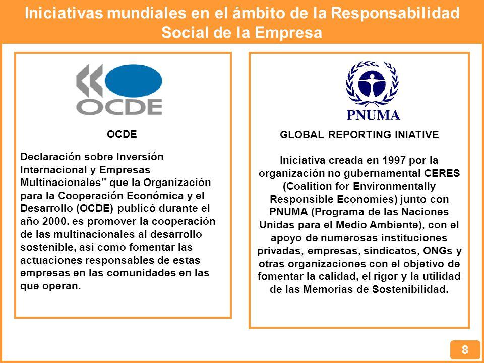 Iniciativas mundiales en el ámbito de la Responsabilidad Social de la Empresa 8 Declaración sobre Inversión Internacional y Empresas Multinacionales que la Organización para la Cooperación Económica y el Desarrollo (OCDE) publicó durante el año 2000.
