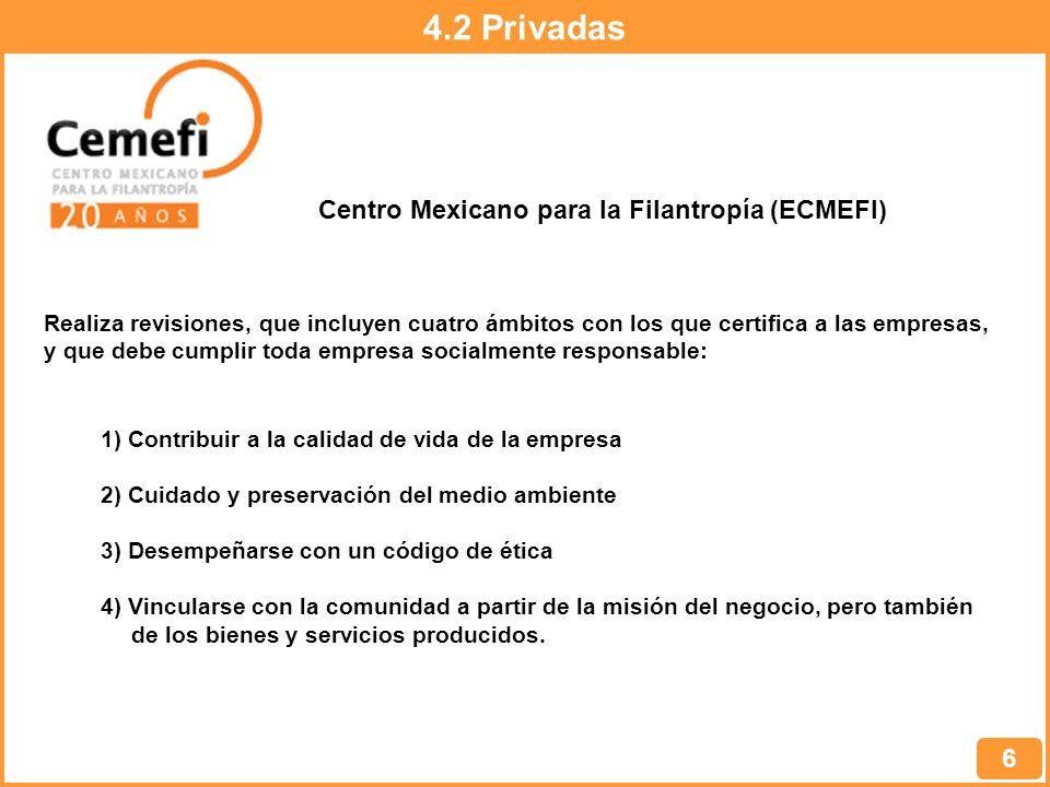 4.2 Privadas 6 Centro Mexicano para la Filantropía (ECMEFI) Realiza revisiones, que incluyen cuatro ámbitos con los que certifica a las empresas, y que debe cumplir toda empresa socialmente responsable: 1) Contribuir a la calidad de vida de la empresa 2) Cuidado y preservación del medio ambiente 3) Desempeñarse con un código de ética 4) Vincularse con la comunidad a partir de la misión del negocio, pero también de los bienes y servicios producidos.