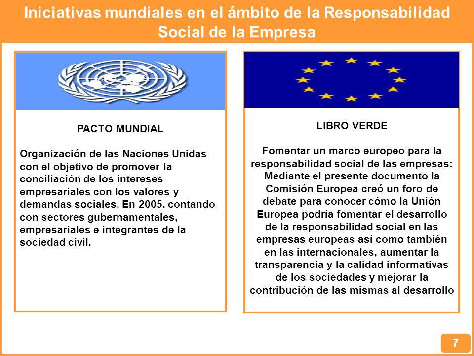 Iniciativas mundiales en el ámbito de la Responsabilidad Social de la Empresa 7 PACTO MUNDIAL Organización de las Naciones Unidas con el objetivo de promover la conciliación de los intereses empresariales con los valores y demandas sociales.