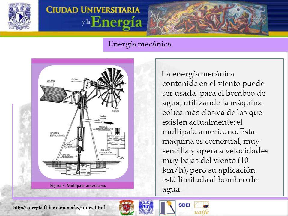Energía mecánica http://energia.fi-b.unam.mx/av/index.html La energía mecánica contenida en el viento puede ser usada para el bombeo de agua, utilizan