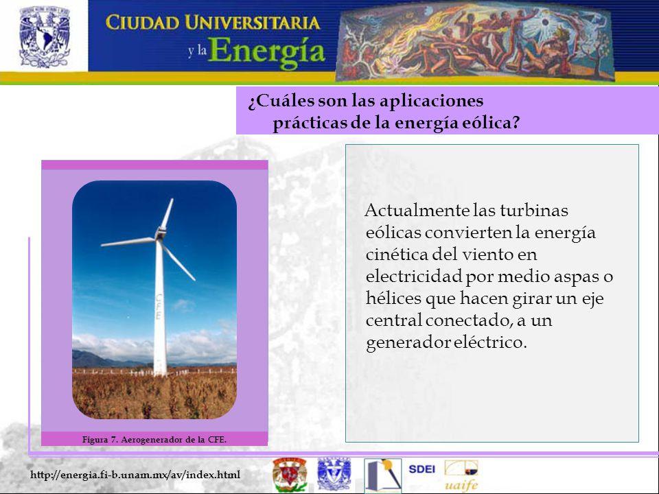 ¿Cuáles son las aplicaciones prácticas de la energía eólica? http://energia.fi-b.unam.mx/av/index.html Actualmente las turbinas eólicas convierten la
