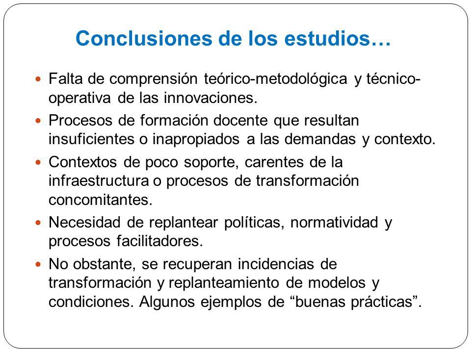 Conclusiones de los estudios… Falta de comprensión teórico-metodológica y técnico- operativa de las innovaciones. Procesos de formación docente que re