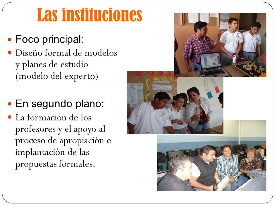 Las instituciones Foco principal: Diseño formal de modelos y planes de estudio (modelo del experto) En segundo plano: La formación de los profesores y