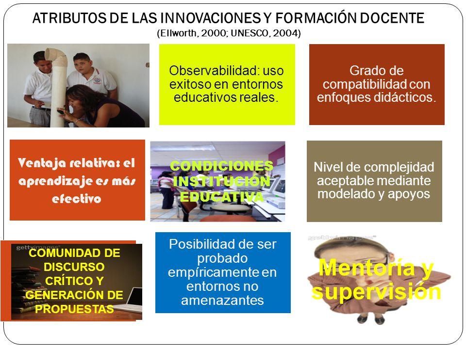 ATRIBUTOS DE LAS INNOVACIONES Y FORMACIÓN DOCENTE (Ellworth, 2000; UNESCO, 2004) Observabilidad: uso exitoso en entornos educativos reales. Grado de c