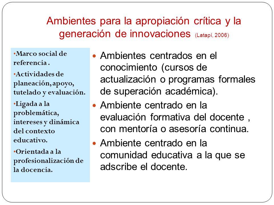 Ambientes para la apropiación crítica y la generación de innovaciones (Latapí, 2006) Marco social de referencia. Actividades de planeación, apoyo, tut