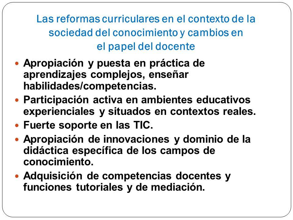 Las reformas curriculares en el contexto de la sociedad del conocimiento y cambios en el papel del docente Apropiación y puesta en práctica de aprendi