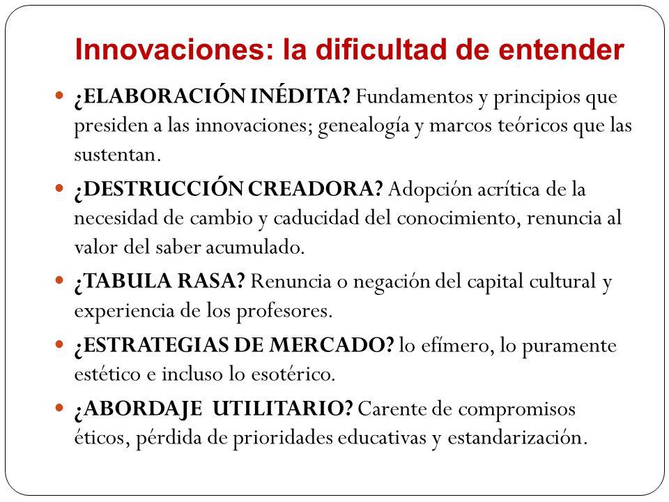 Innovaciones: la dificultad de entender ¿ELABORACIÓN INÉDITA? Fundamentos y principios que presiden a las innovaciones; genealogía y marcos teóricos q