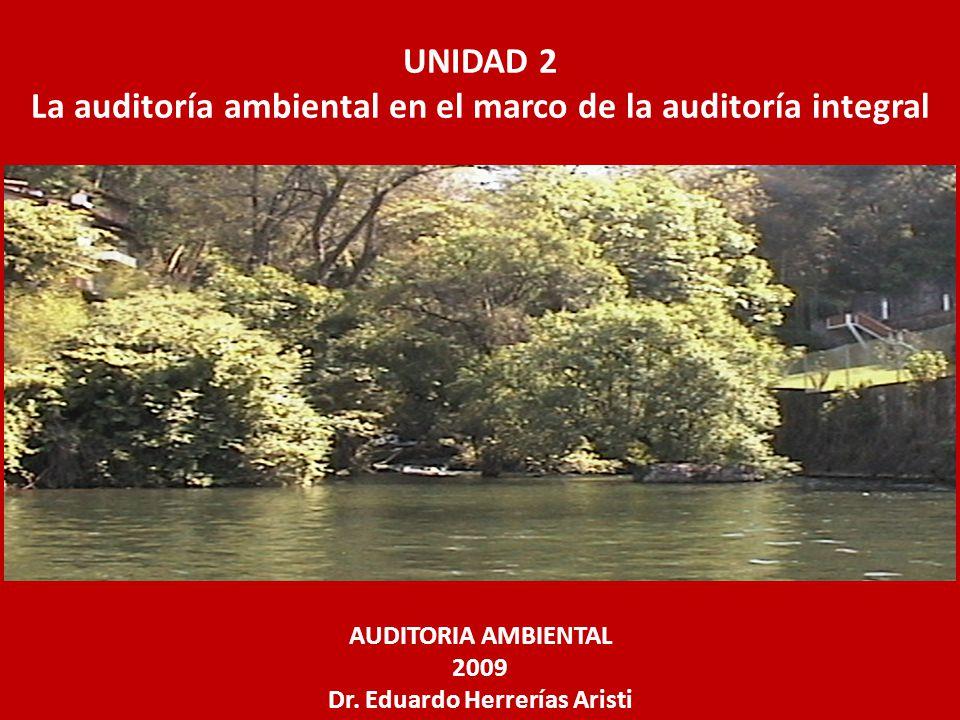 UNIDAD 2 La auditoría ambiental en el marco de la auditoría integral AUDITORIA AMBIENTAL 2009 Dr. Eduardo Herrerías Aristi