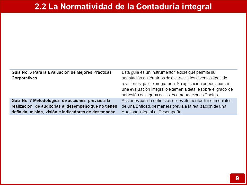 2.2 La Normatividad de la Contaduría integral 9 Guía No. 6 Para la Evaluación de Mejores Prácticas Corporativas Esta guía es un instrumento flexible q