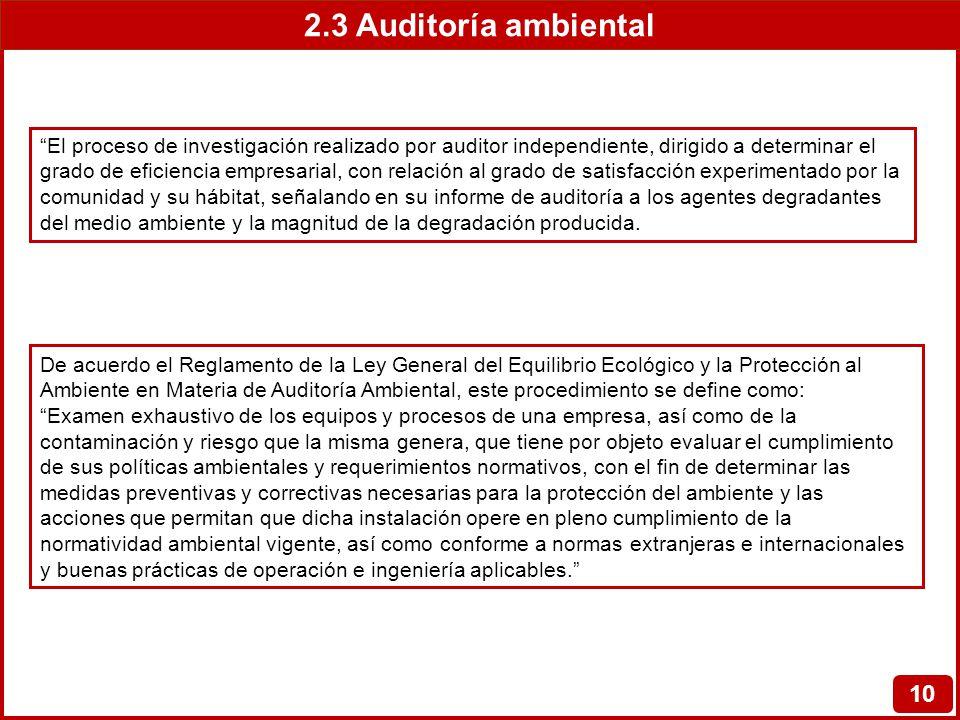 2.3 Auditoría ambiental 10 El proceso de investigación realizado por auditor independiente, dirigido a determinar el grado de eficiencia empresarial,