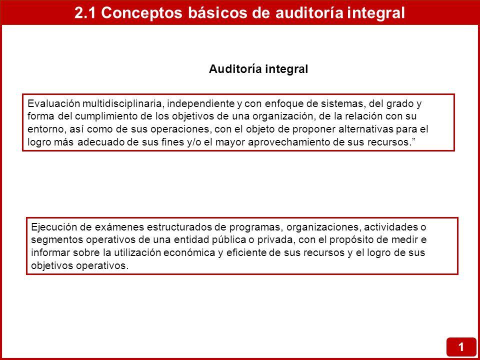 2.1 Conceptos básicos de auditoría integral 1 Evaluación multidisciplinaria, independiente y con enfoque de sistemas, del grado y forma del cumplimien