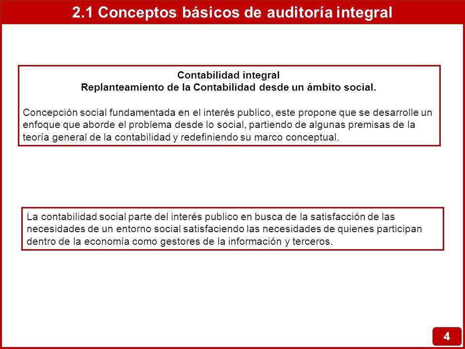 2.1 Conceptos básicos de auditoría integral 4 Contabilidad integral Replanteamiento de la Contabilidad desde un ámbito social. Concepción social funda