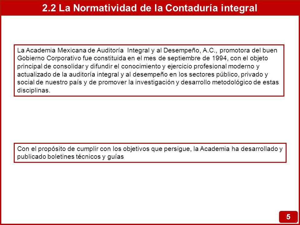 2.2 La Normatividad de la Contaduría integral 6 Normatividad de la contaduría integral Boletines y guías de la Academia Mexicana de Auditoría Integral y al Desempeño, A.C Contenido BOLETIN No.