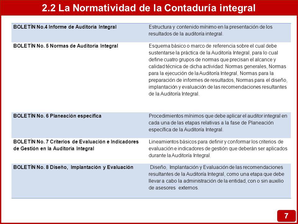 2.2 La Normatividad de la Contaduría integral 7 BOLETÍN No.4 Informe de Auditoría Integral Estructura y contenido mínimo en la presentación de los res