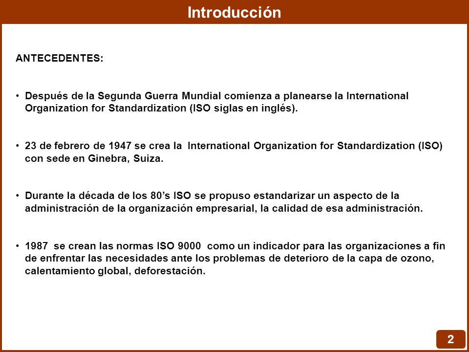 Introducción 2 ANTECEDENTES: Después de la Segunda Guerra Mundial comienza a planearse la International Organization for Standardization (ISO siglas en inglés).