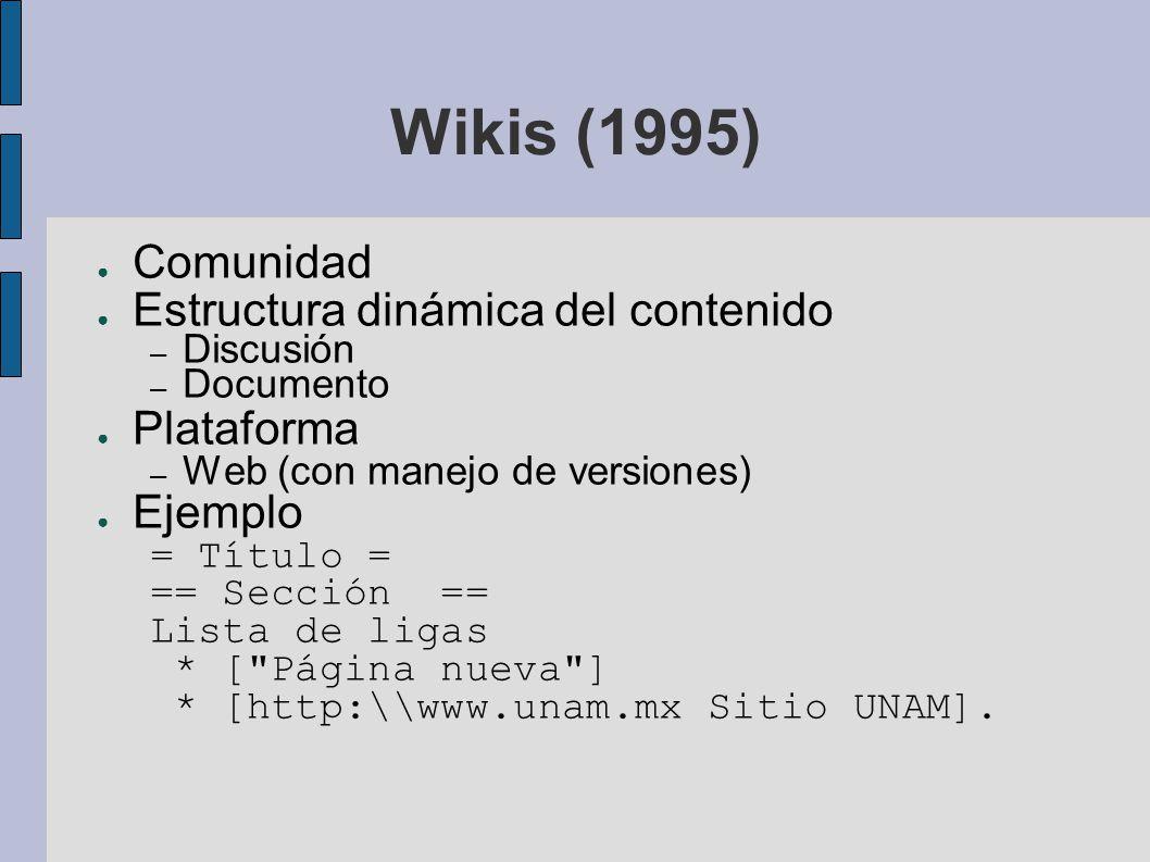 Wikis (1995) Comunidad Estructura dinámica del contenido – Discusión – Documento Plataforma – Web (con manejo de versiones) Ejemplo = Título = == Secc