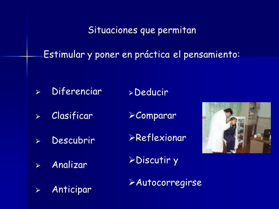 Situaciones que permitan Estimular y poner en práctica el pensamiento: Diferenciar Clasificar Descubrir Analizar Anticipar Deducir Comparar Reflexiona