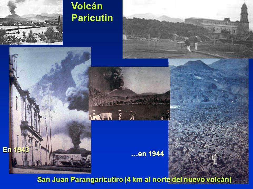 San Juan Parangaricutiro (4 km al norte del nuevo volcán) En 1943 …en 1944 Volcán Paricutin