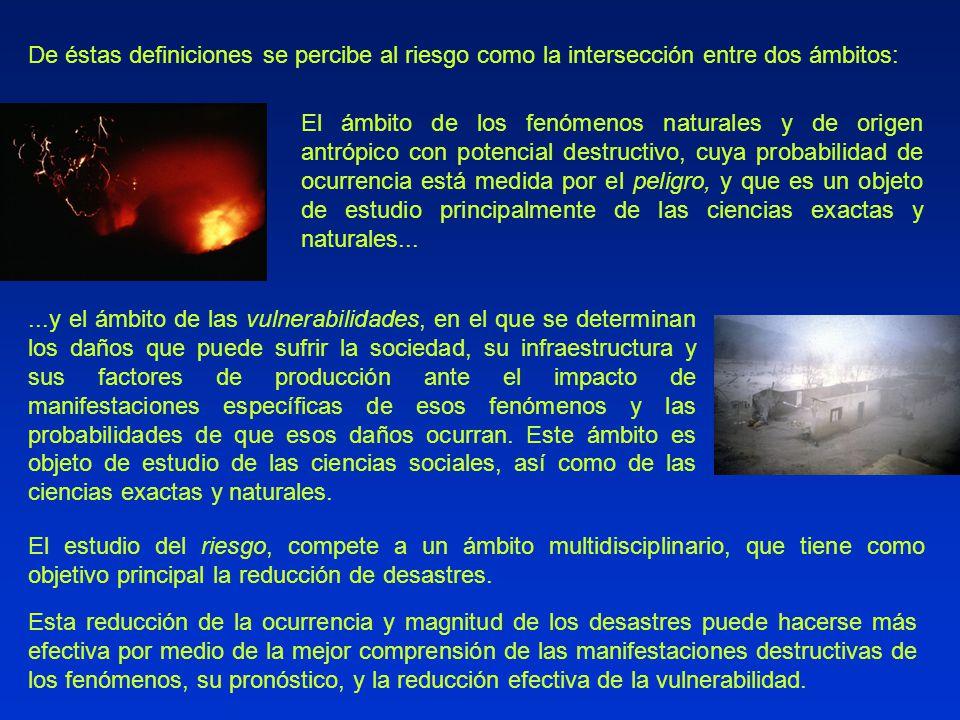 De éstas definiciones se percibe al riesgo como la intersección entre dos ámbitos: El ámbito de los fenómenos naturales y de origen antrópico con pote