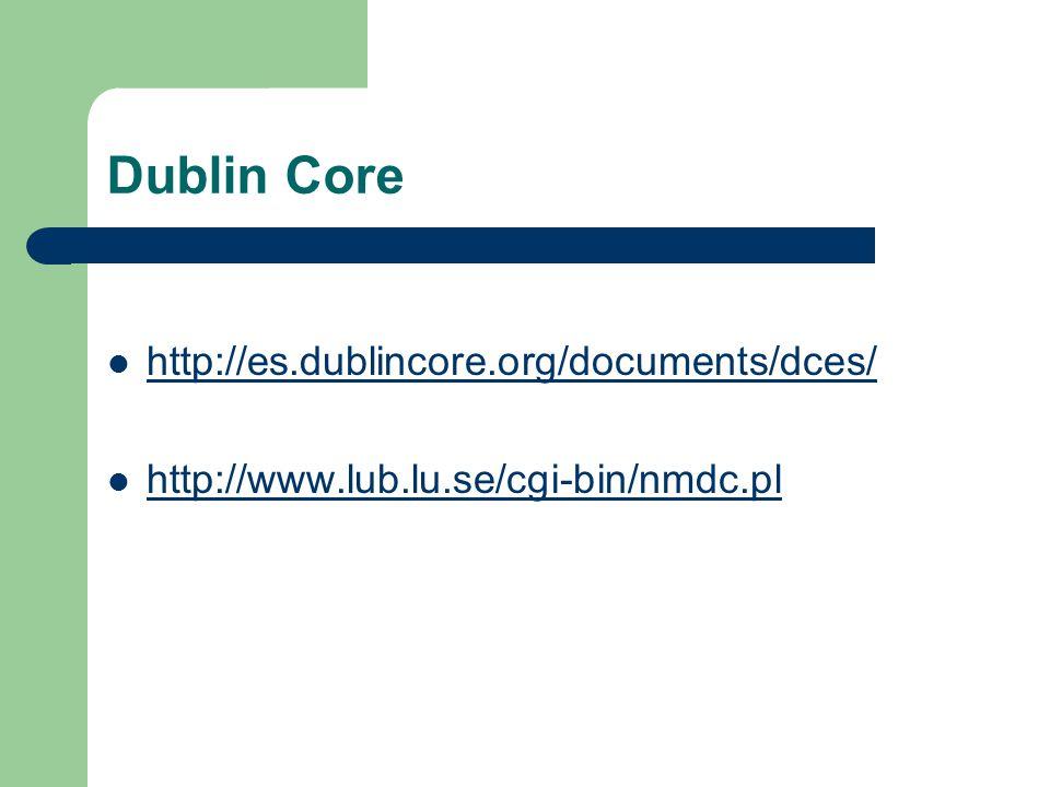 Dublin Core http://es.dublincore.org/documents/dces/ http://www.lub.lu.se/cgi-bin/nmdc.pl