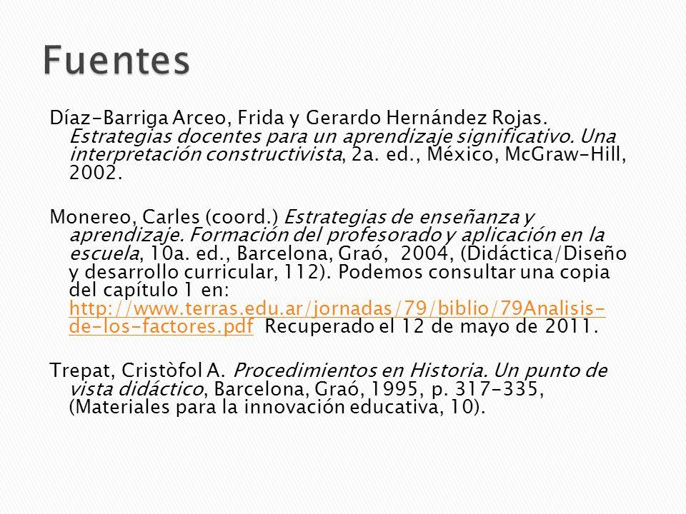 Díaz-Barriga Arceo, Frida y Gerardo Hernández Rojas. Estrategias docentes para un aprendizaje significativo. Una interpretación constructivista, 2a. e