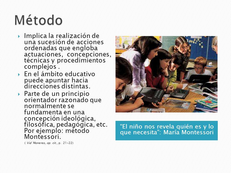 El niño nos revela quién es y lo que necesita: María Montessori Implica la realización de una sucesión de acciones ordenadas que engloba actuaciones,