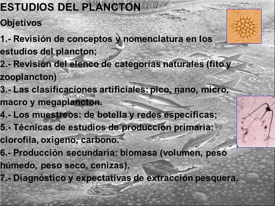 ESTUDIOS DEL PLANCTON Objetivos 1.- Revisión de conceptos y nomenclatura en los estudios del plancton; 2.- Revisión del elenco de categorías naturales (fito y zooplancton) 3.- Las clasificaciones artificiales: pico, nano, micro, macro y megaplancton.