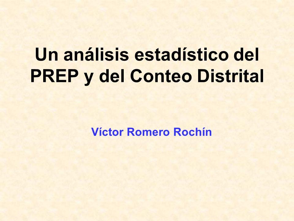 Un análisis estadístico del PREP y del Conteo Distrital Víctor Romero Rochín