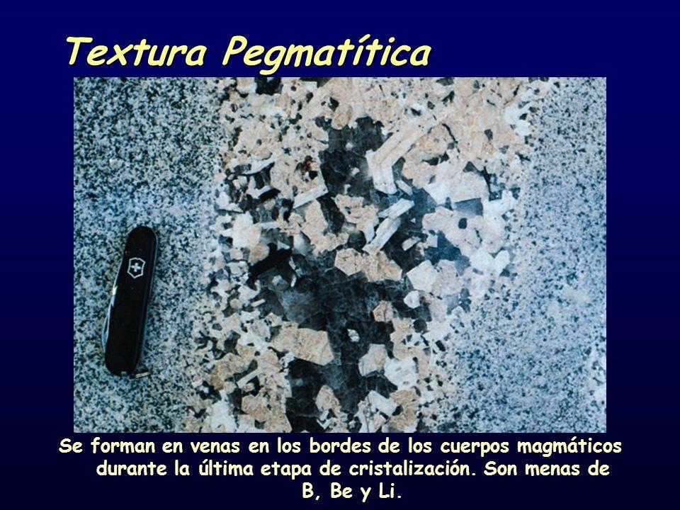 Textura Pegmatítica Se forman en venas en los bordes de los cuerpos magmáticos durante la última etapa de cristalización. Son menas de B, Be y Li.
