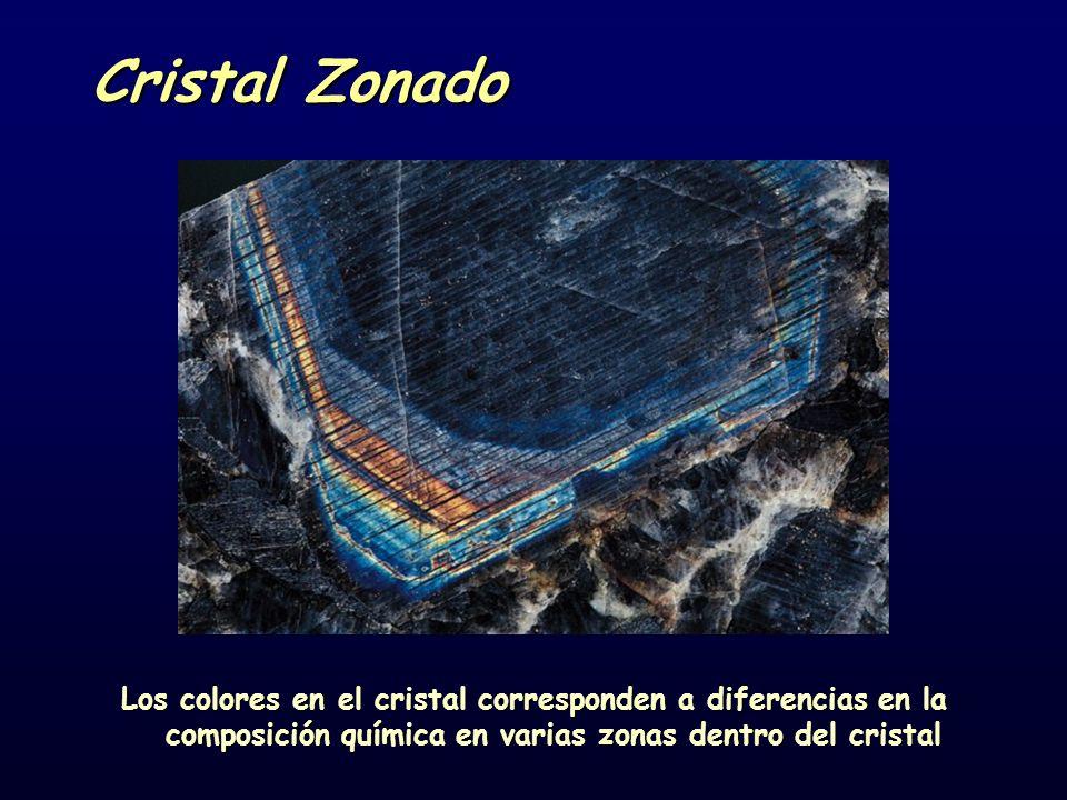 Cristal Zonado Los colores en el cristal corresponden a diferencias en la composición química en varias zonas dentro del cristal
