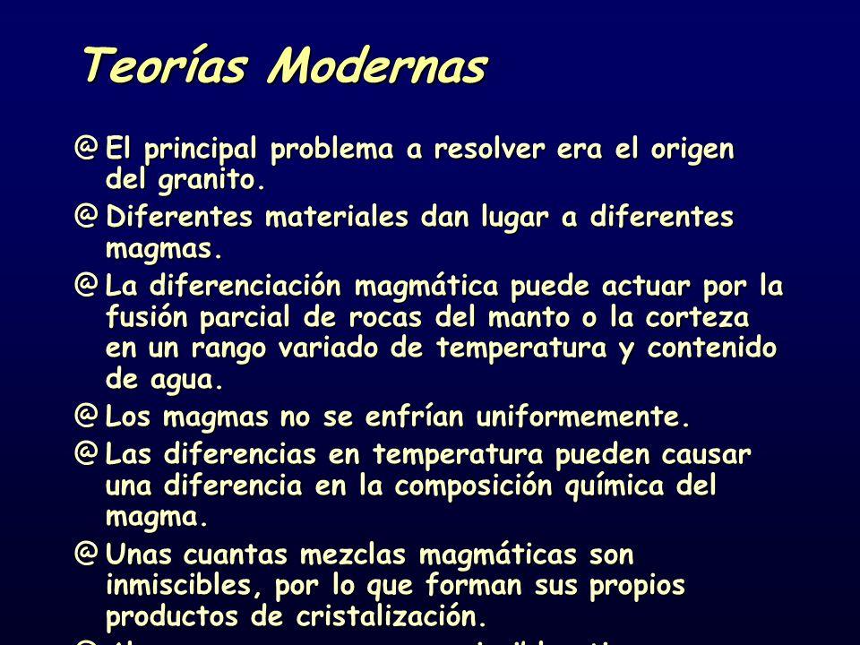 Teorías Modernas @El principal problema a resolver era el origen del granito. @Diferentes materiales dan lugar a diferentes magmas. @La diferenciación
