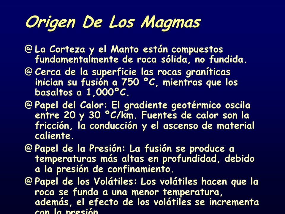 Origen De Los Magmas @La Corteza y el Manto están compuestos fundamentalmente de roca sólida, no fundida. @Cerca de la superficie las rocas graníticas
