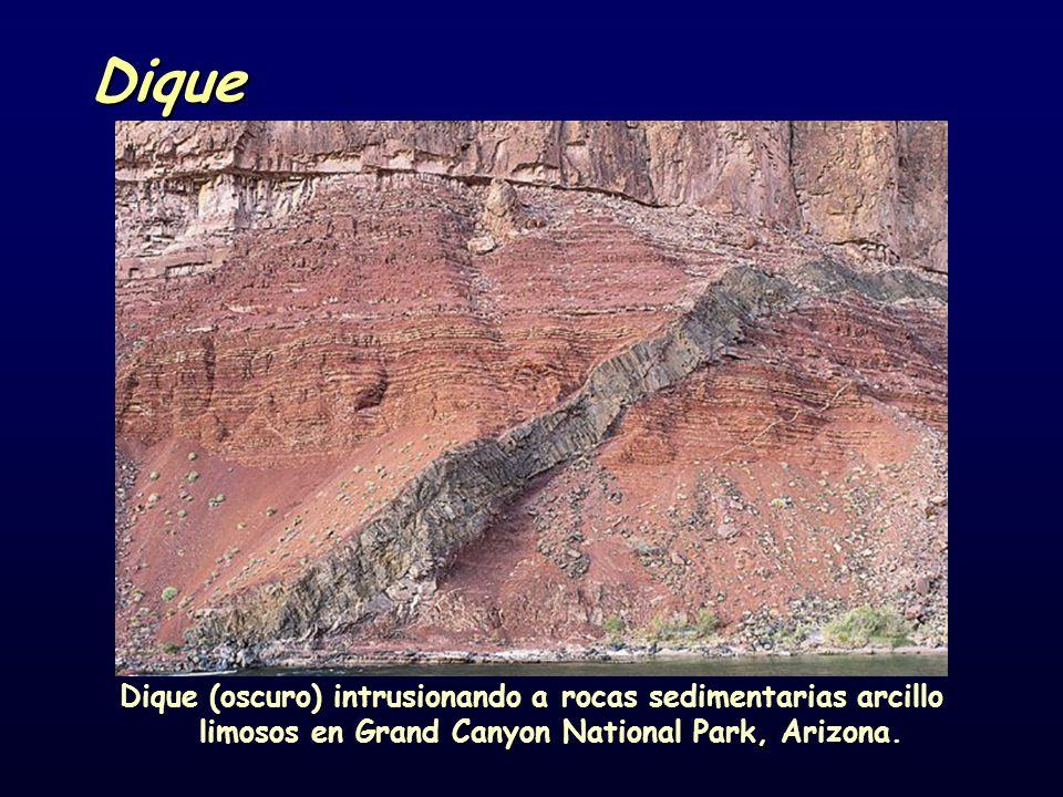 Dique Dique (oscuro) intrusionando a rocas sedimentarias arcillo limosos en Grand Canyon National Park, Arizona.