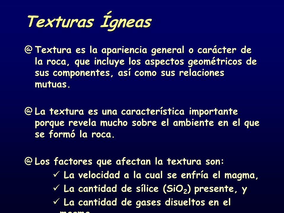 Texturas Ígneas @Textura es la apariencia general o carácter de la roca, que incluye los aspectos geométricos de sus componentes, así como sus relaciones mutuas.