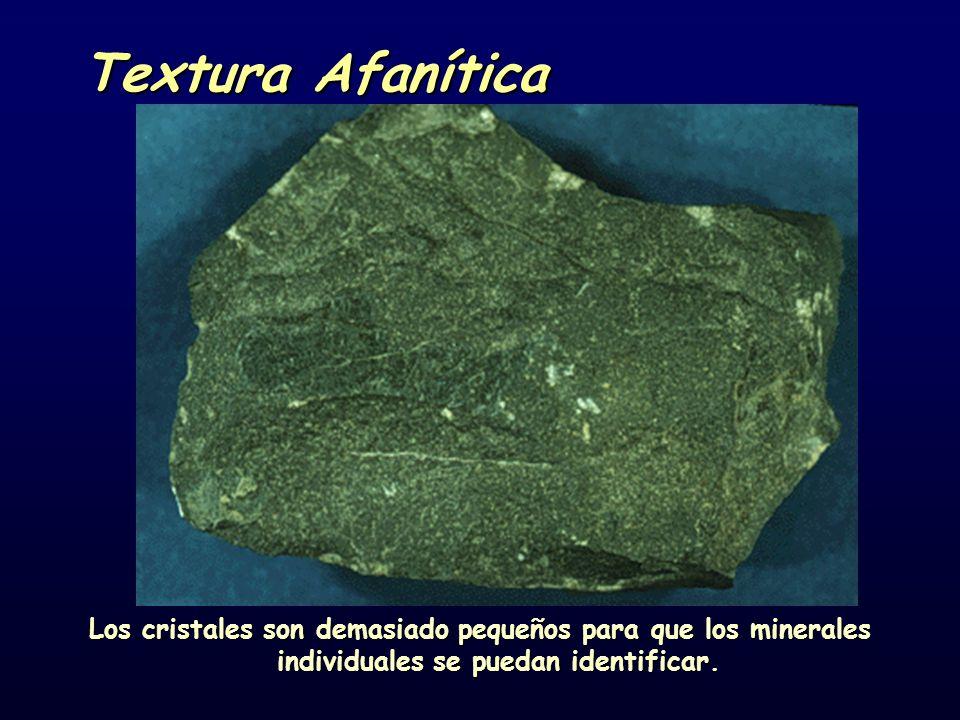 Textura Afanítica Los cristales son demasiado pequeños para que los minerales individuales se puedan identificar.