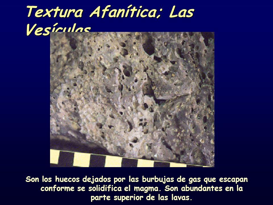 Textura Afanítica; Las Vesículas Son los huecos dejados por las burbujas de gas que escapan conforme se solidifica el magma. Son abundantes en la part