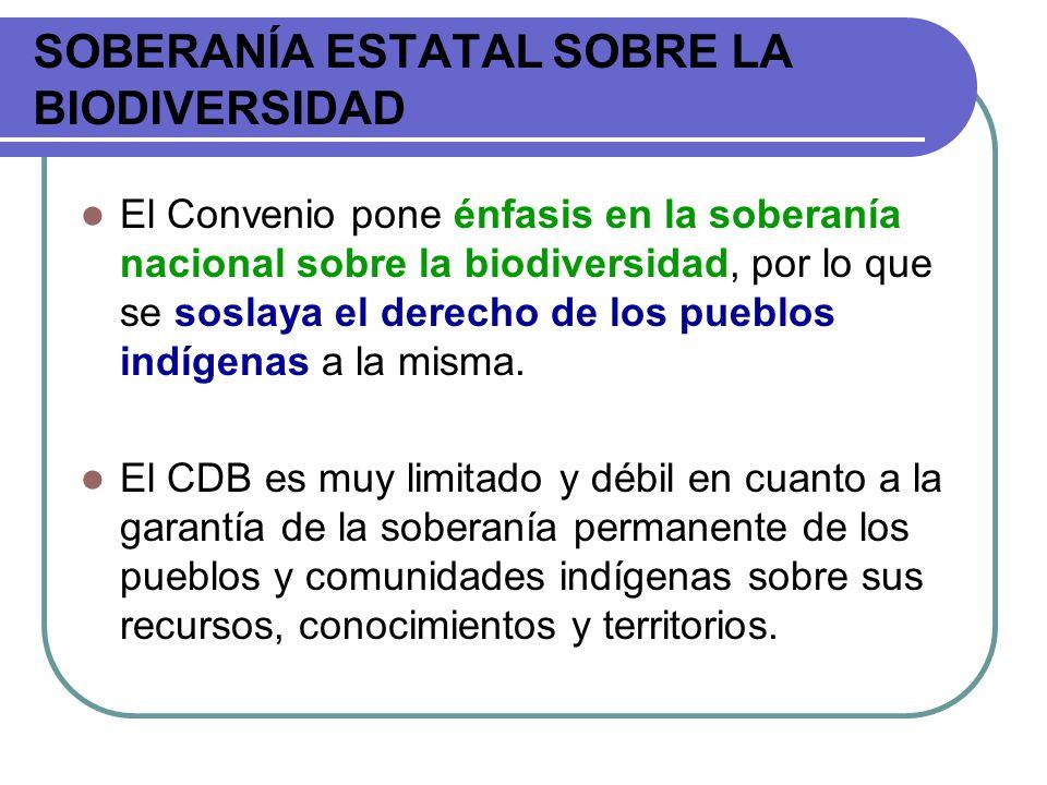 SOBERANÍA ESTATAL SOBRE LA BIODIVERSIDAD El Convenio pone énfasis en la soberanía nacional sobre la biodiversidad, por lo que se soslaya el derecho de