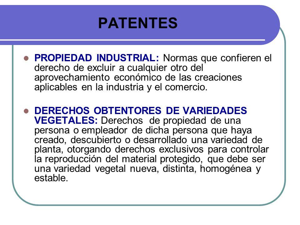 PATENTES PROPIEDAD INDUSTRIAL: Normas que confieren el derecho de excluir a cualquier otro del aprovechamiento económico de las creaciones aplicables