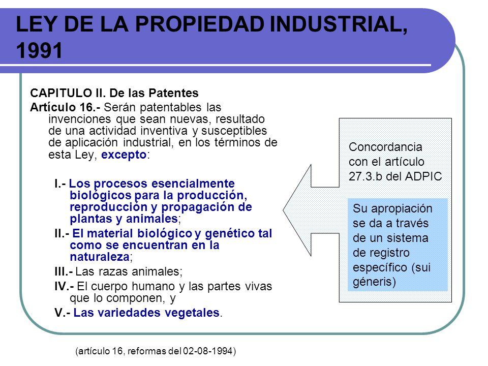 LEY DE LA PROPIEDAD INDUSTRIAL, 1991 CAPITULO II. De las Patentes Artículo 16.- Serán patentables las invenciones que sean nuevas, resultado de una ac