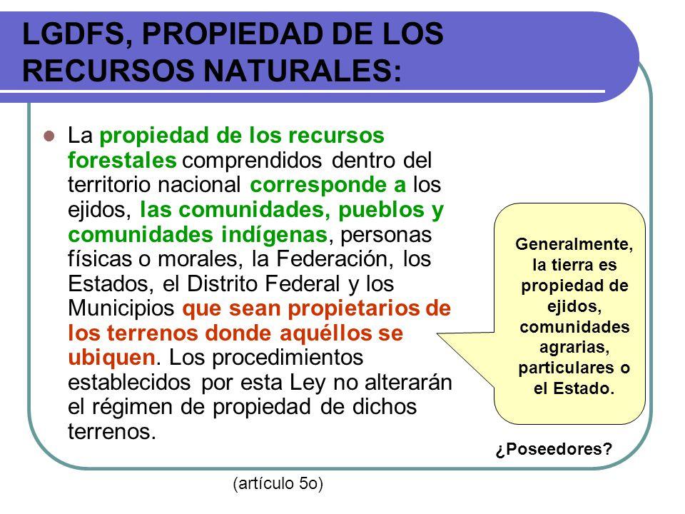 LGDFS, PROPIEDAD DE LOS RECURSOS NATURALES: La propiedad de los recursos forestales comprendidos dentro del territorio nacional corresponde a los ejid