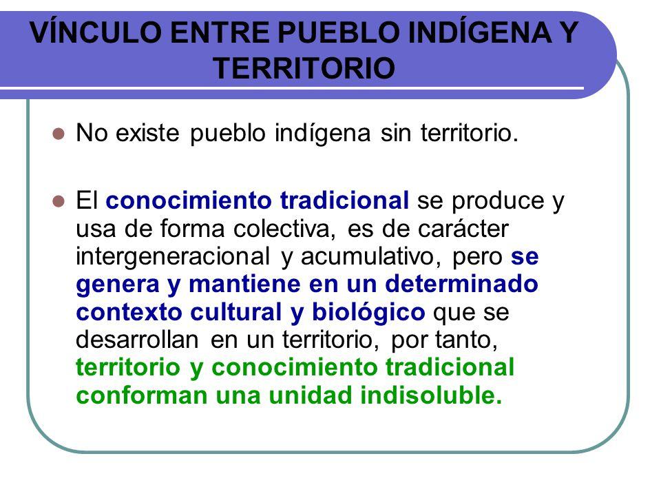 VÍNCULO ENTRE PUEBLO INDÍGENA Y TERRITORIO No existe pueblo indígena sin territorio. El conocimiento tradicional se produce y usa de forma colectiva,