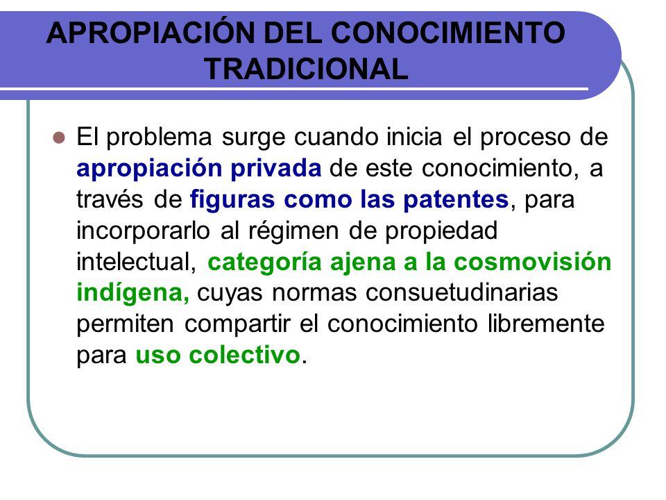 APROPIACIÓN DEL CONOCIMIENTO TRADICIONAL El problema surge cuando inicia el proceso de apropiación privada de este conocimiento, a través de figuras c