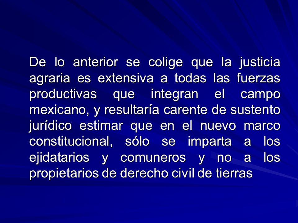 De lo anterior se colige que la justicia agraria es extensiva a todas las fuerzas productivas que integran el campo mexicano, y resultaría carente de sustento jurídico estimar que en el nuevo marco constitucional, sólo se imparta a los ejidatarios y comuneros y no a los propietarios de derecho civil de tierras