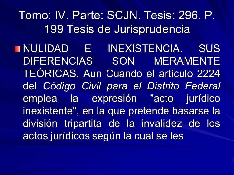 Tomo: IV.Parte: SCJN. Tesis: 296. P. 199 Tesis de Jurisprudencia NULIDAD E INEXISTENCIA.