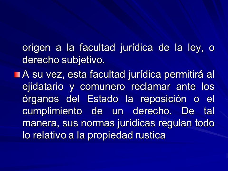origen a la facultad jurídica de la ley, o derecho subjetivo.